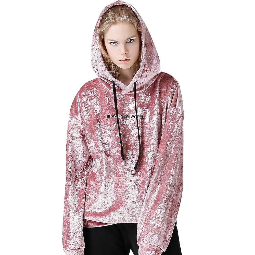 Toyouth Pink Velvet Hoodies 2019 Autumn Embroidery Letter Sweatshirts Women Long Sleeve Hooded Tracksuits Jumper Pullover Female
