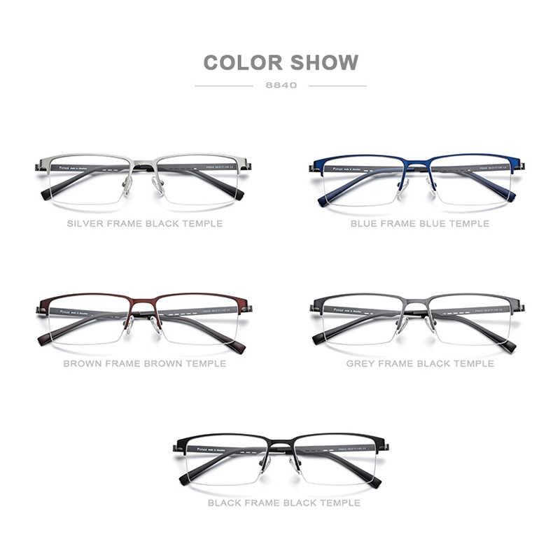 Fonex liga óculos quadro homem ultraleve quadrado miopia prescrição óculos 2019 metal metade quadros ópticos screwless eyewear