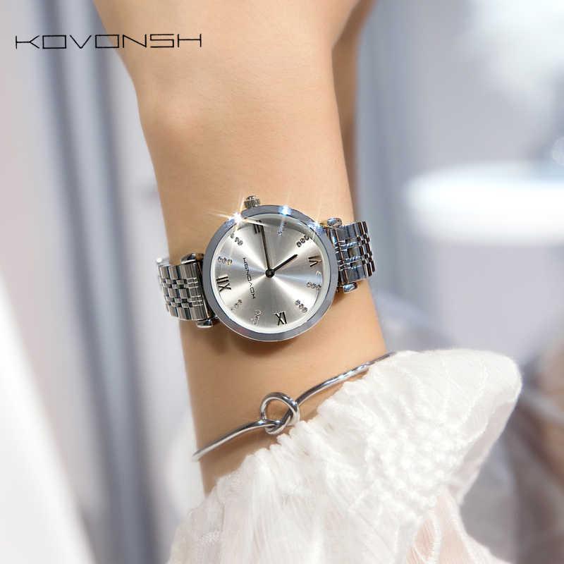 KOVONSH יוקרה אופנה נשים שעונים ליידי שעון נירוסטה שמלת נשים שעון קוורץ יד שעונים מתנת הווה Dropshipping