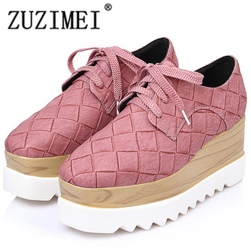 2018 Spring women platform Oxfords shoes Brogue Lace Up Leather shoes ladies thick soled Shoes For Women flats size 34-40 qmn women genuine leather platform flats women laser cut patent leather brogue shoes woman oxfords lace up leisure shoes 34 39