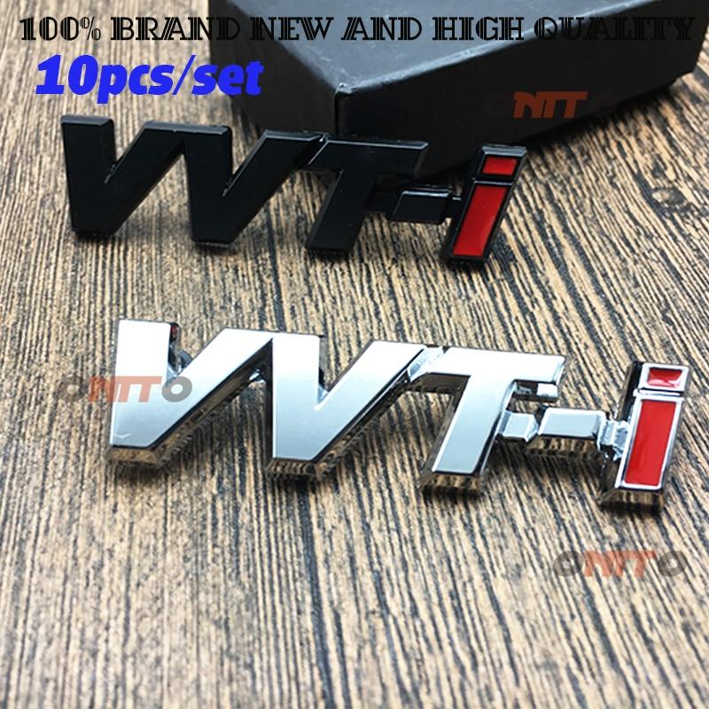 10x Metal VVT-i VVTi emblem Chrome Strip Car Fender Sticker Side Emblem Badge for TOYOTA Camry COROLLA YARiS Ralink REIZ CROWN