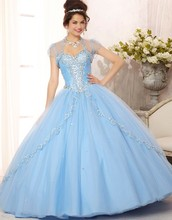 elegant crystal princess ball gowns 2015 light blue quinceanera dresses with jacket debutante girl party dresses II_060
