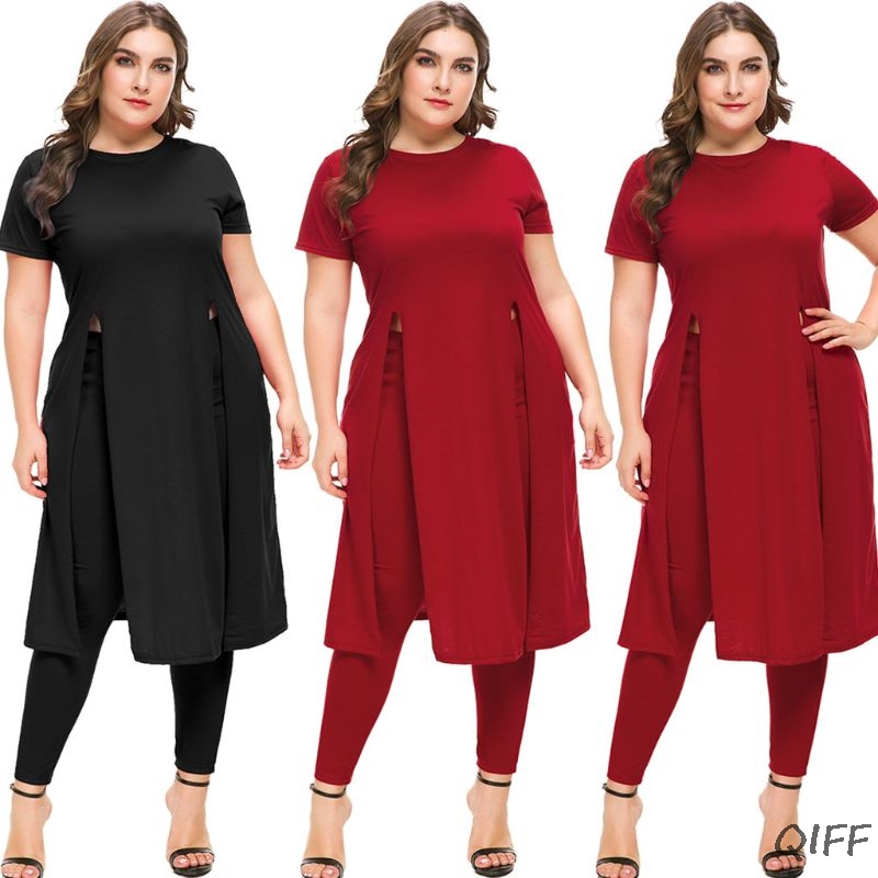 2 Pcs Plus Größe Frauen Casual Kurzarm Split T Shirt Top + Lange Hosen Legging Lose Bluse Hemd Kleid Reisen