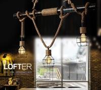 Creative Metal Water Pipe Hemp Rope Pendant Hanging Lamp Dinning Room Bar Cafe Restaurant Home Decoration Light Fixture