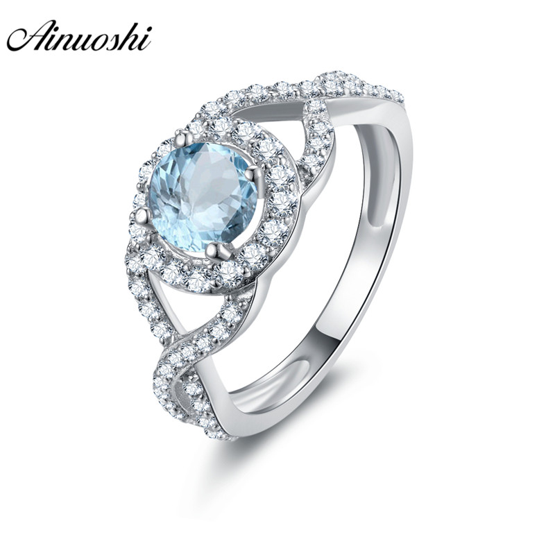 AINUOSHI Natural Blue Topaz Halo Ring Engagement Wedding Ring 0.8ct Round Cut Weaving Ring Pure 925 Silver Jewelry Women Ring weaving shape embellished alloy ring