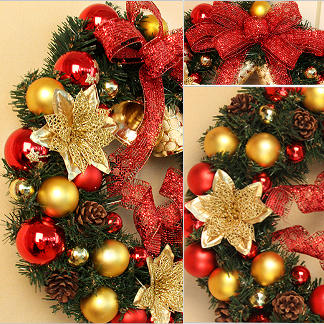 Christmas Decorations For Home Door And Window Decorations Christmas Wreath  Luxury Merry Christmas Party Ball Bell Garland In Pendant U0026 Drop Ornaments  From ...