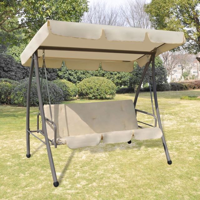 Vidaxl Outdoor Swing Chair Bed With Canopy Sand White In Patio