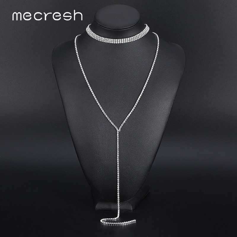 42b1aef1d4 Mecresh Three Row Rhinestone Choker Necklace For Women Silver Color Super  Long Tassel Chocker Simple Party Jewelry MXL105