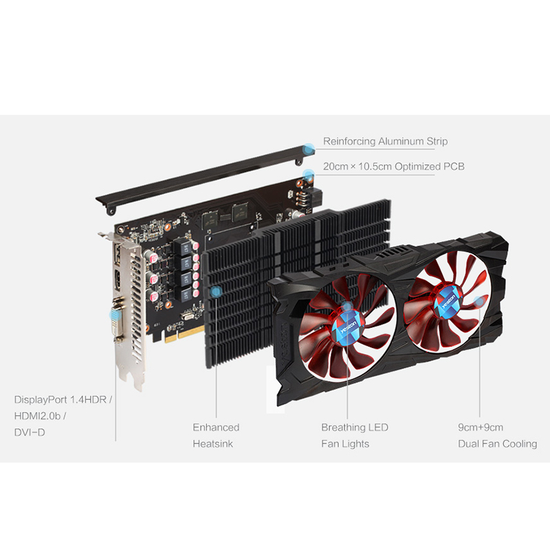 Yeston Radeon RX 560 GPU 4GB GDDR5 128bit Gaming Desktop