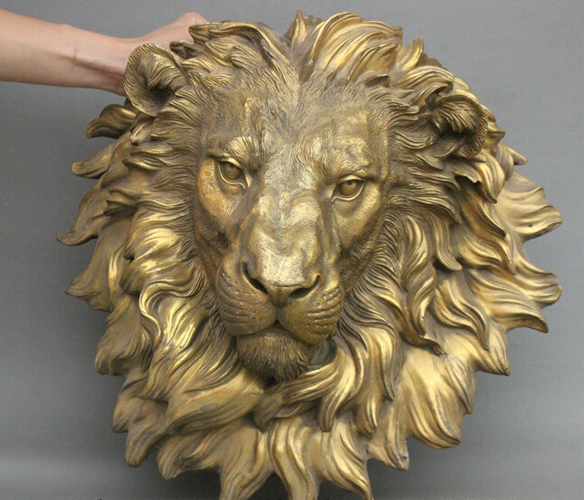 Crafts Arts Collection Chinese Brass Copper Evil Lion Head Mask Wall Hang Family Decor Art Sculpture statues garden decoration