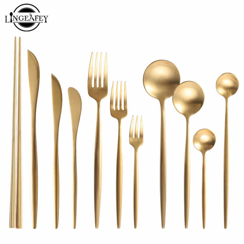 Gold Cutlery Set 18/10 Stainless Steel Cutlery Set Chopsticks Butter Knife Dessert Spoon Dinner Fork Tea Ice Spoon Tableware Set