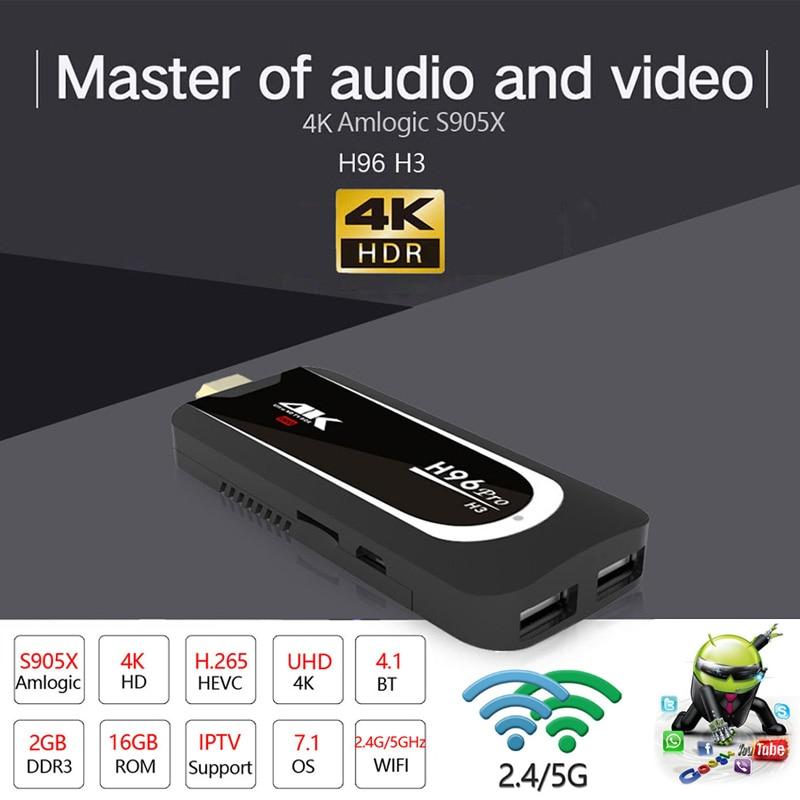 H96Pro-H3 4 K Full HD Tv Stick Amlogic S905X Quad Core Android 7.1 OS 2G 16G MINI PC Smart TV Box 2.4G + 5G Wifi BT4.0 TV dongle