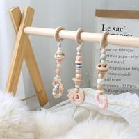 3pcs/Set Silicone Beads Baby Rattle Mobile Crib Beech Wood Bird Teether DIY Handmade Kids Bed Stroller Hanging Decor With Holder