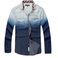 Casual Jeans Shirt Men Gradient Color Long Sleeve Denim Shirt Men Brand Cotton Breathable Turn Down