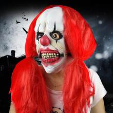 One Deluxe Horrible Scary Clown Mask Adult Men Latex Red Hair Halloween COS Clown Evil Killer Demon Clown Mask Fast Shipping(China)