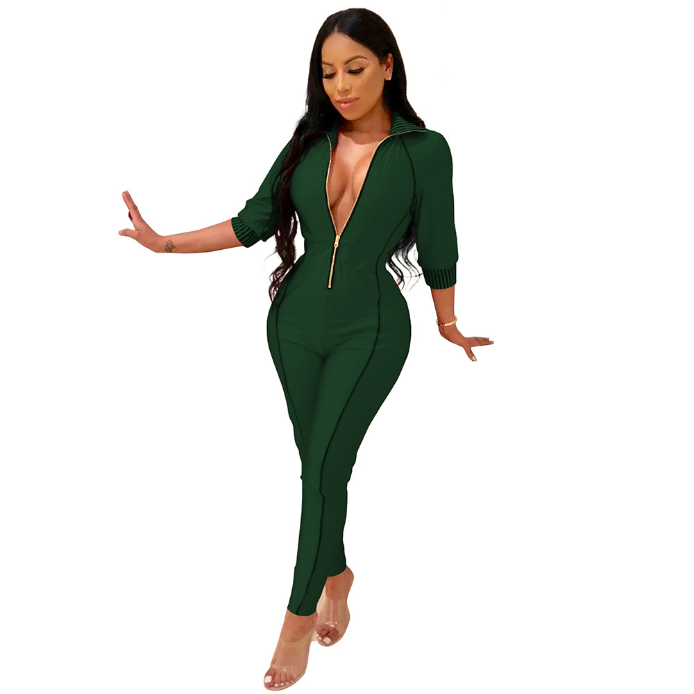 e035a3fc0cf5 front zipper Three Quarter sleeve jumpsuit 2018 autumn winter women sexy  club zip hoodies body suit Plus size S XXL-in Jumpsuits from Women s  Clothing on ...