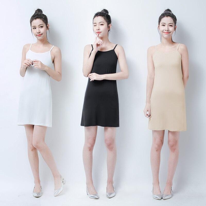 Underskirt básico anti-reflexo escorregadio XS-6XL tamanho grande longo 95 cm A Linha dentro cinta saia feminino verão mulheres completa deslizamento