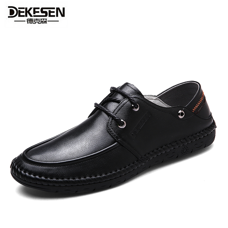 DEKESEN Men's 100% Genuine Leather Driving Shoes,New Moccasins Lace Up Handmade Shoes,Brand Design Flats For Men dekesen brand vintage classic 100