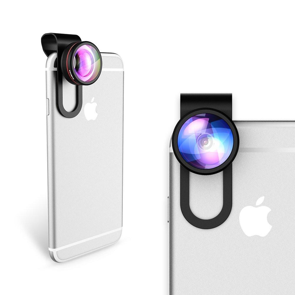 VICTSING Clip-on 3 in 1 Camera Phone Lens Kit Fisheye Lens + 12X Macro + 24X Super Macro Lens for iPhone 6s 6 Plus etc Cellphone 11