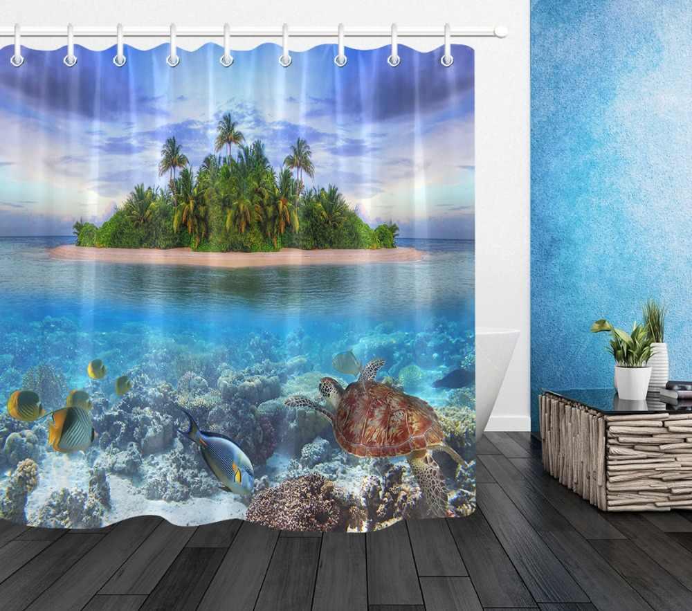 72 ''אמבטיה עמיד למים בד וילון מקלחת פוליאסטר 12 ווי אמבטיה אבזר סטי אי טרופי של האיים המלדיביים אלמוגי דגים