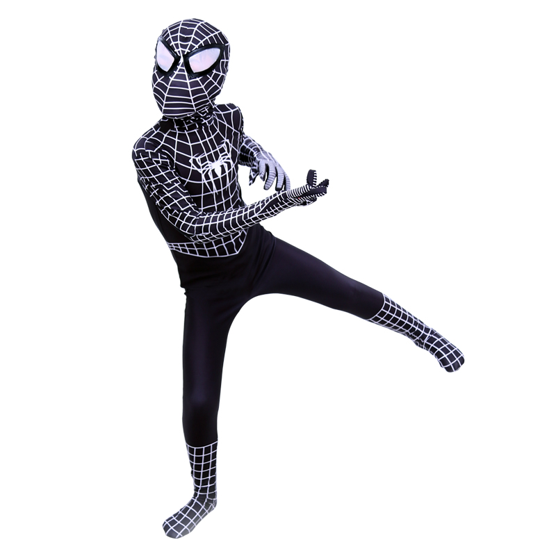 New Kids Venom Black Spiderman Costume For Boys Superhero Spandex Halloween Cosplay Bodysuits Toddler Birthday Cosplay suit