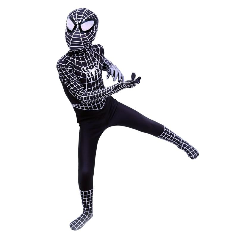New Kids Venom Black Spiderman Costume For Boys Superhero Spandex Halloween Cosplay Bodysuits Toddler Birthday Cosplay suit
