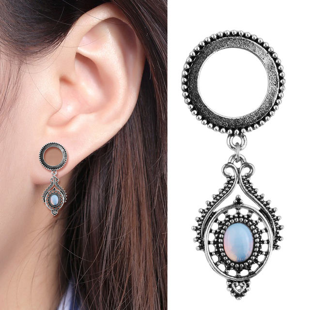 Waterdrop Opal Dangle Ear Plugs And Tunnels Stainless Steel Expander Piercing Gauges