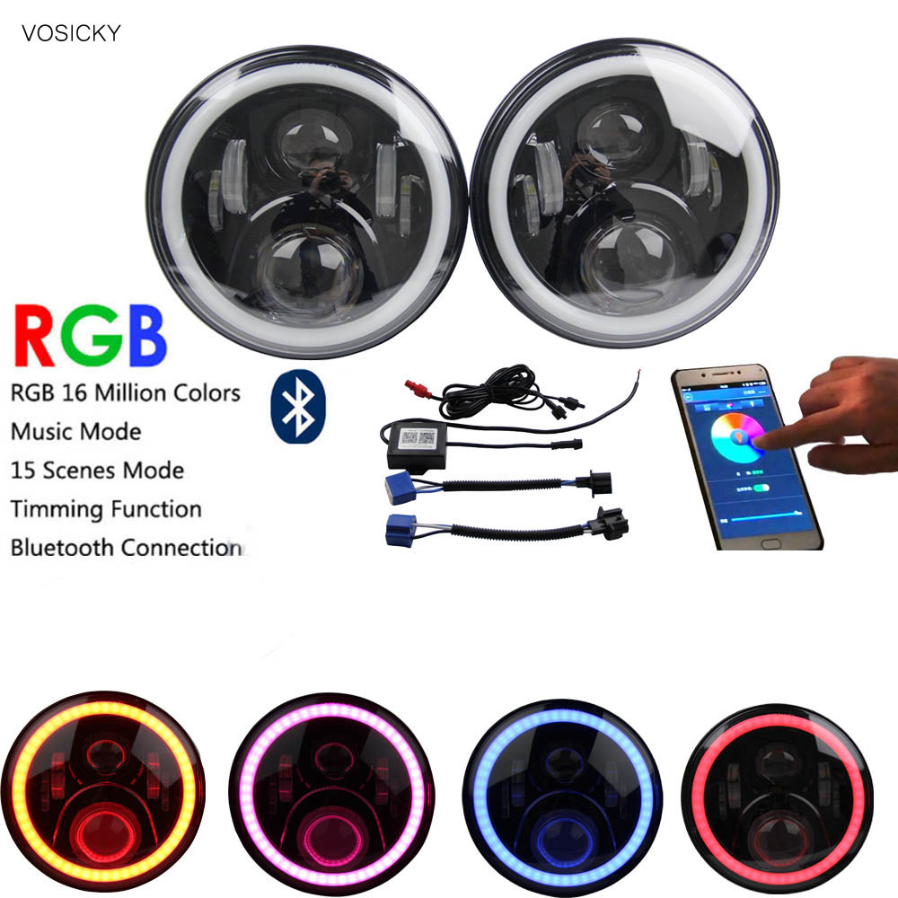 VOSICKY 7 inch LED Headlights  RGB Halo with Bluetooth Remote for 1997~2016 Jeep Wrangler JK LJ CJ Hummer H1 H2 hot sale 7 inch led headlights kit rgb with bluetooth remote halo ring angel eyes for jeep wrangler 1997 2017 jk tj cj