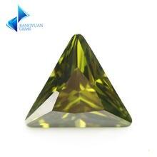 3x3 ~ 10x10мм треугольная форма 5А черный оливковый cz камень