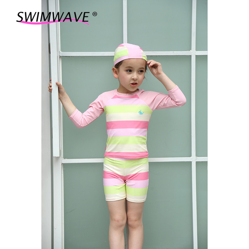 2 to 8 Years Striped Baby Two Pieces Swimwear Kids Long Sleeved Swimsuit Children Boys Girls