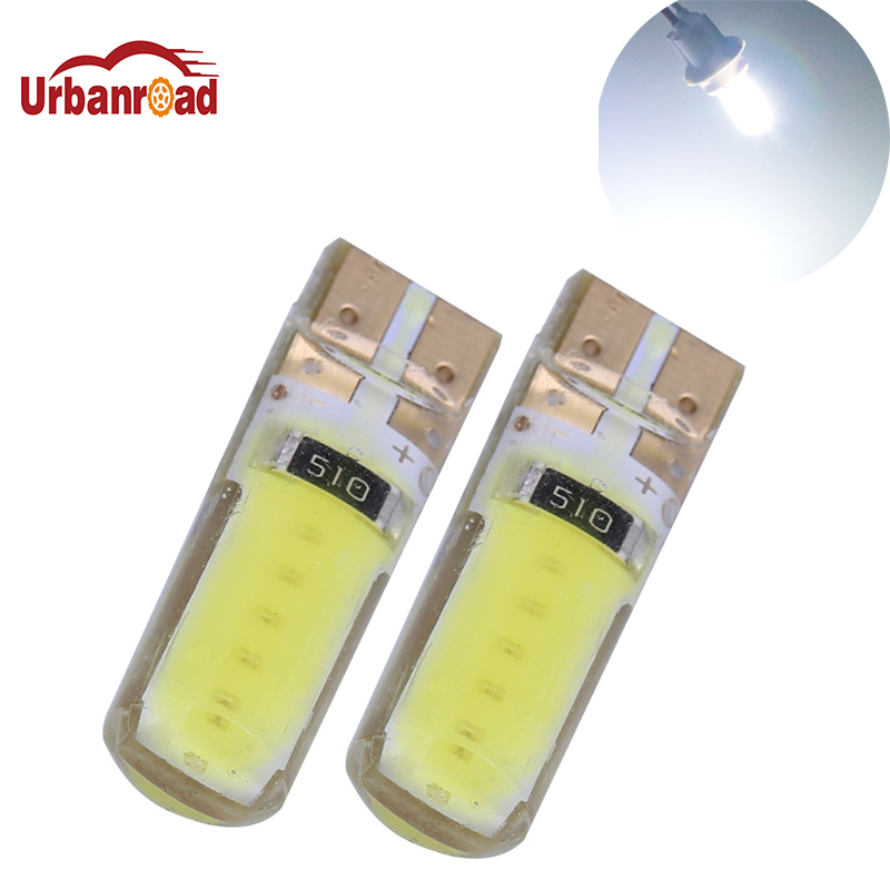 Urbanroad 2pcs/lot  T10 w5w 194 Cob Led Canbus 12V t10 Led Light Bulbs White Car  Interior reading Light signal Lamp Bulb