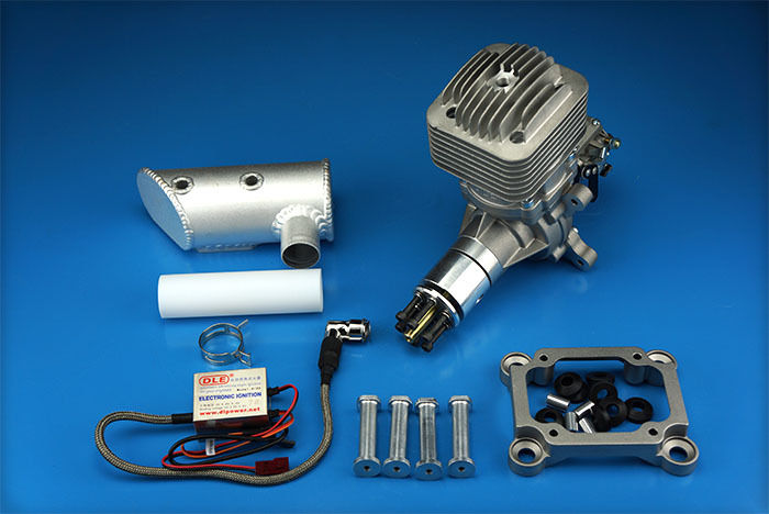 DLE85 85cc Gasoline Engine Rear Exhaust With Muffler & Ignition For RC Plane US Stock dle40 dle engine 40cc twin gasoline w electronic ignition dle 40 for rc plane us stock