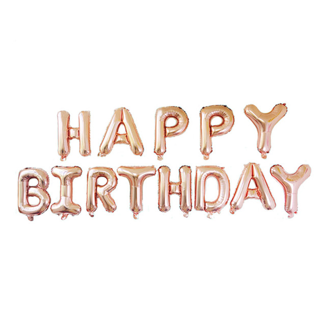 rose gold letter happy birthday foil balloons us version alphabet birthday party decorations kids air balloons