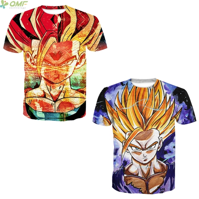 5335615a2cc Super Saiyan Gohan 3d Print T-shirts Hipster Popular Tops Cartoon Dragon  Ball Z Cosplay