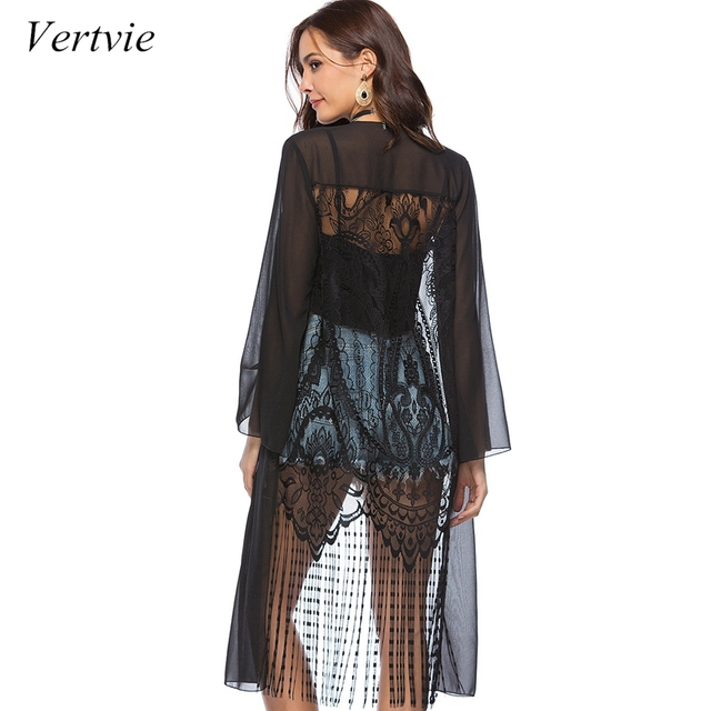 349cf1bb9c vertvie Summer Sunproof Beach Cardigan 2019 Sexy Chiffon Black White Bikini  Cover Up Lace Tassel Swimsuit Cover-up Robe De Plage