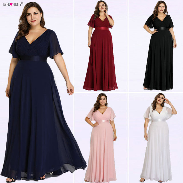 Plus Size Evening Dresses Ever Pretty EP09890 Elegant V-Neck Ruffles Chiffon Formal Evening Gown Party Dress Robe De Soiree 2018