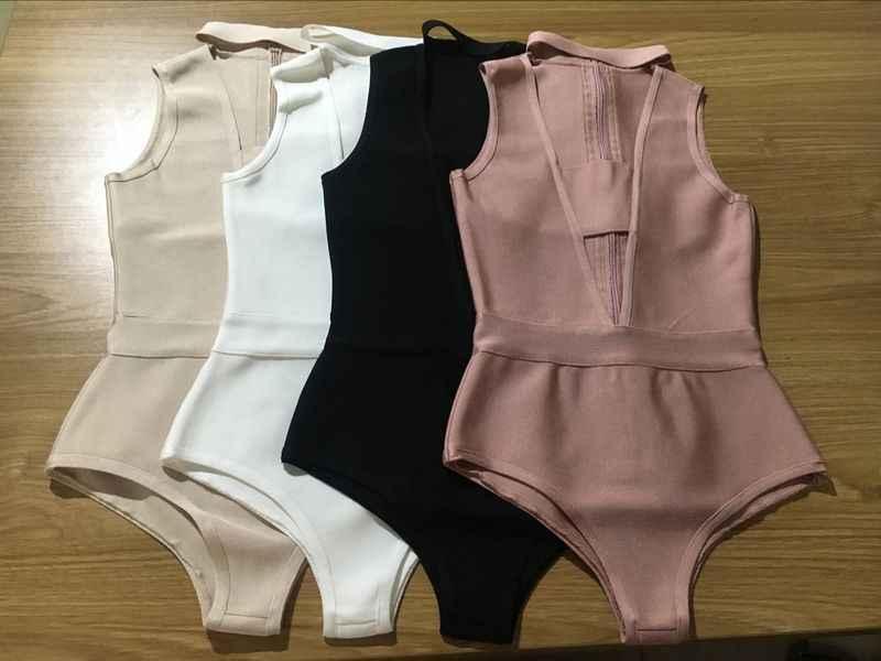 Мода 2017 лето новый сексуальный черный белый бежевый пыльный розовый v-образный вырез обтягивающий комбинезон оптовая продажа дропшиппинг платье + костюм