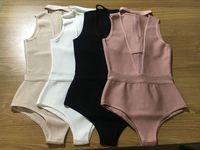 Fashion 2016 New Sexy Black White Beige Dusty Pink V Neck Bandage Bodysuits Wholesale Dropshipping