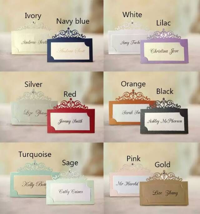 Name for wedding decoration business flisol home 50pcs free shipping classical hollow out place card wedding name multicolor paper table decoration business in junglespirit Images