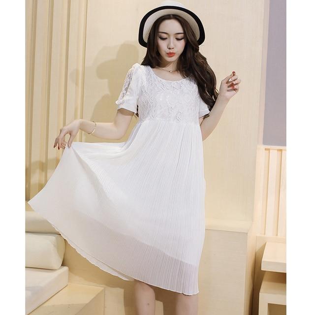 White Maternity Dresses High Waist Pleated Chiffon Lace Dress Formal