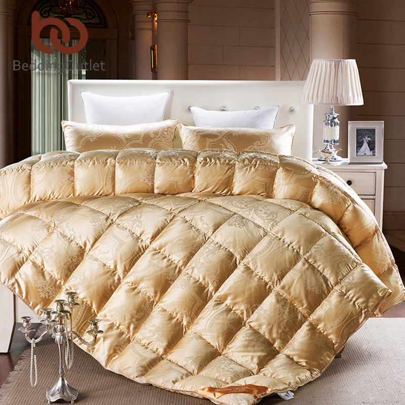 silk comforter gold royal jacquard duvet luxury goose down lace winter quilt twin queen king