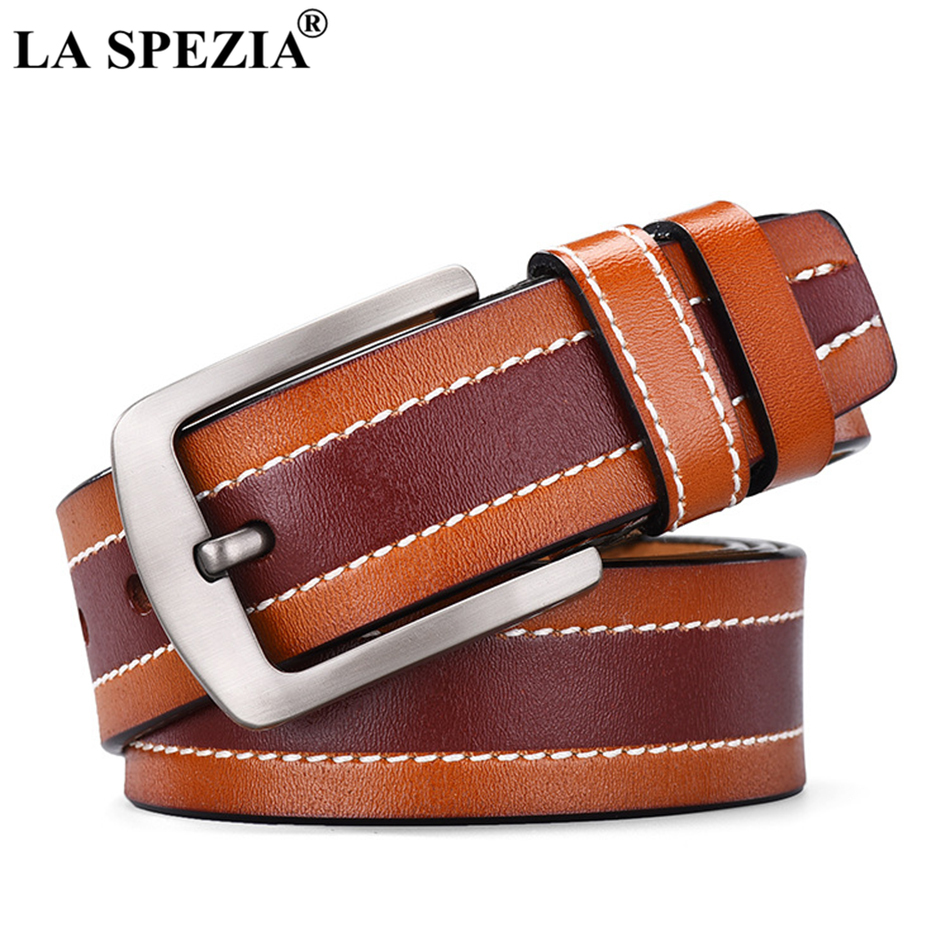 LA SPEZIA Real Leather Belt For Men Designer Navy Pin Buckle Belt Male Brand Casual Genuine Cow Leather Patchwork Jeans Belts in Men 39 s Belts from Apparel Accessories