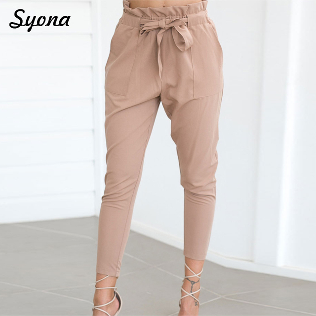Female Formal PANTS Work OFFICE Lady Pencil Pants Elegant Women High Waist Bow Tie Belt LACE UP Business Trousers Moderns OL