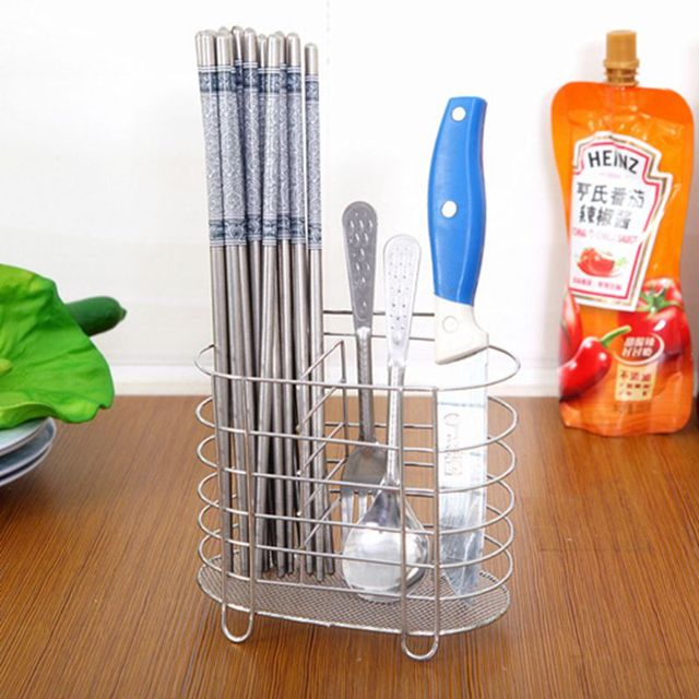 Stainless Steel Chopsticks Tube Tableware Storage Rack Drain Rack Shovel  Spoon Bucket Knife Fork Storage Box