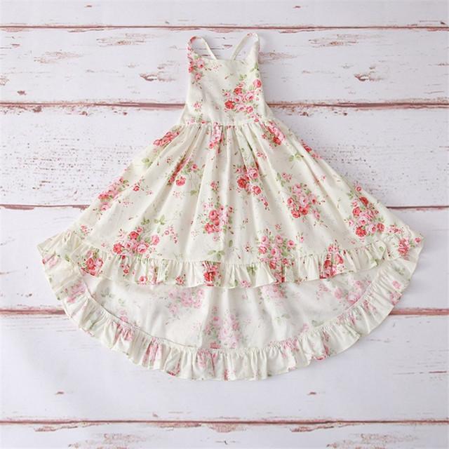 Summer Kids Dress for Girls Bohemia Backless Kids Dresses Flower Girl Long Beach Dress Vestidos Children Clothes D1154