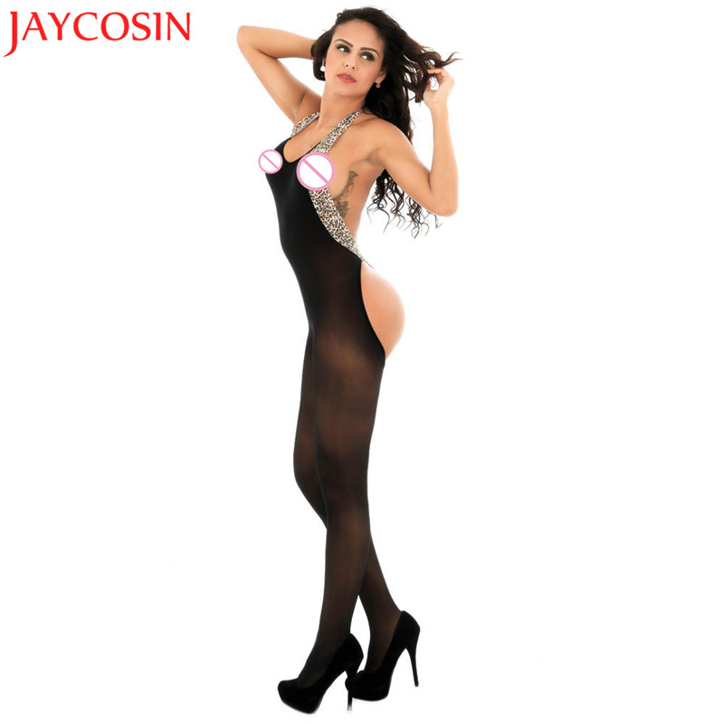 Buy Bodystocking Sexy Women Underwear Erotic Lingerie Leopard Hanging Neck Body Suit Perspective Bodystockings Female Babydoll sp22E