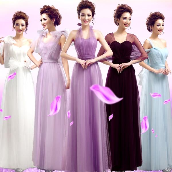 vestidos de novia en colores pastel mismatched púrpura y lavanda de