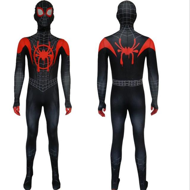 New 2018 Kids Spider-Man Into the Spider-Verse Miles Morales Cosplay Costume Zentai Spiderman Pattern Bodysuit Suit Jumpsuits 5