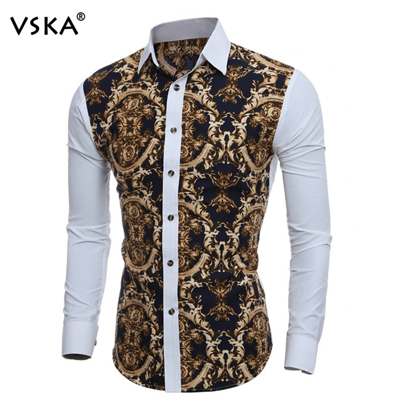 New arrival 2017 brand vintage printed men shirt long for Mens slim hawaiian shirt