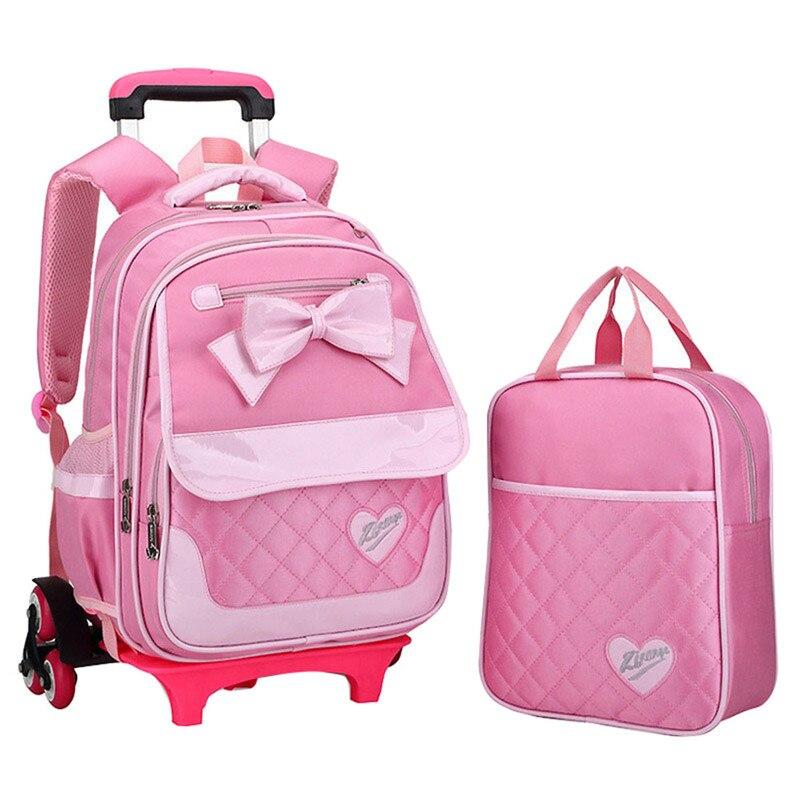 Корейский стиль дети рюкзак лук милый розовый комплект Съемная школьная сумка тележка Обувь для девочек колесный книги сумки Mochilas escolares